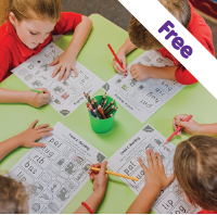Children completing worksheets free for teachers