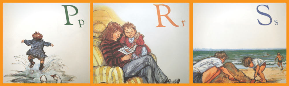Image with book illustrations of Upper and lower case letters P, R, S