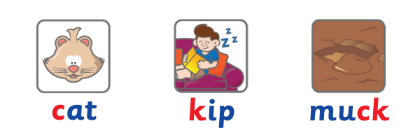 image of words 'cat', 'kip' and 'muck'
