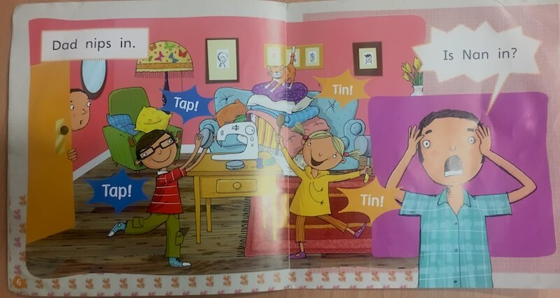 'Is Nan In?' a decodable book from Phonics Bug by Pearson