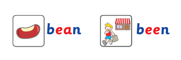 image of words 'been' and 'bean'