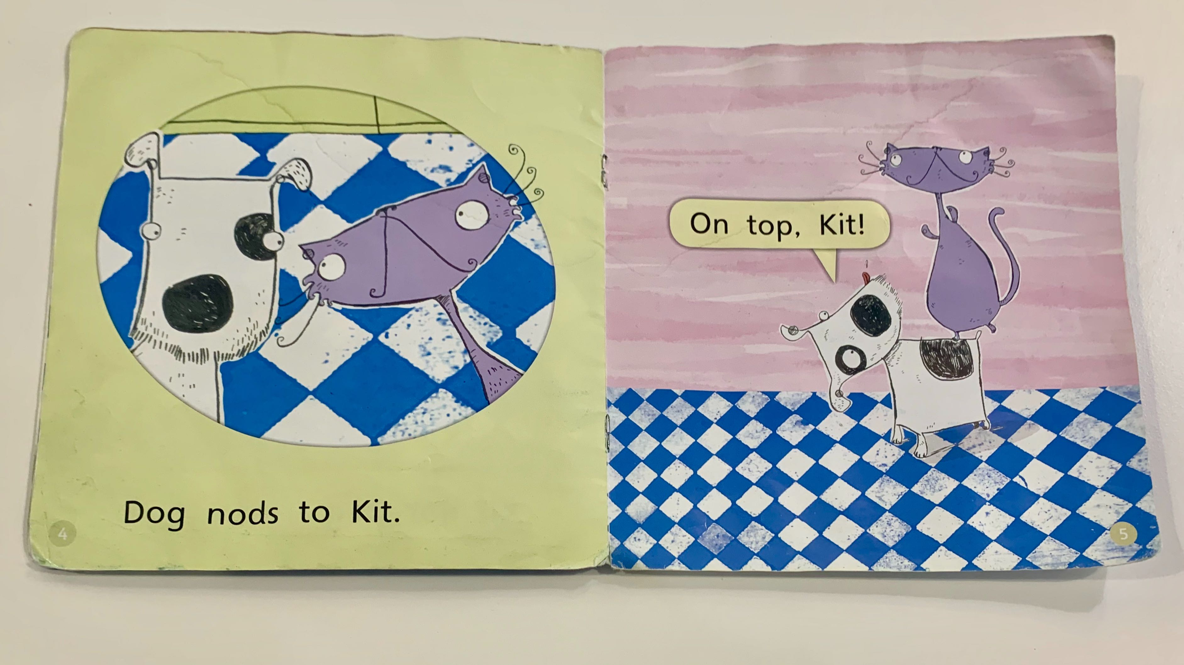 "two pages of a decodable home reader ""Kit and Dog"""
