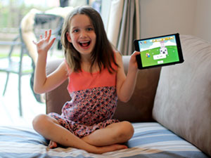 Child account license type, image of little a girl and an iPad.