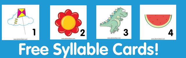 Free 1-4 Syllable Picture and Number Cards